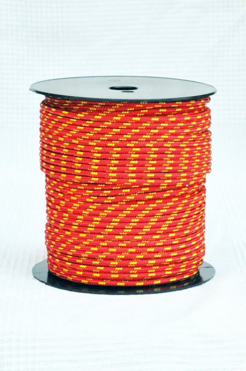 Ø5 mm halyard for djembe drum (red / sunflower yellow, 100 m) - Djembe rope