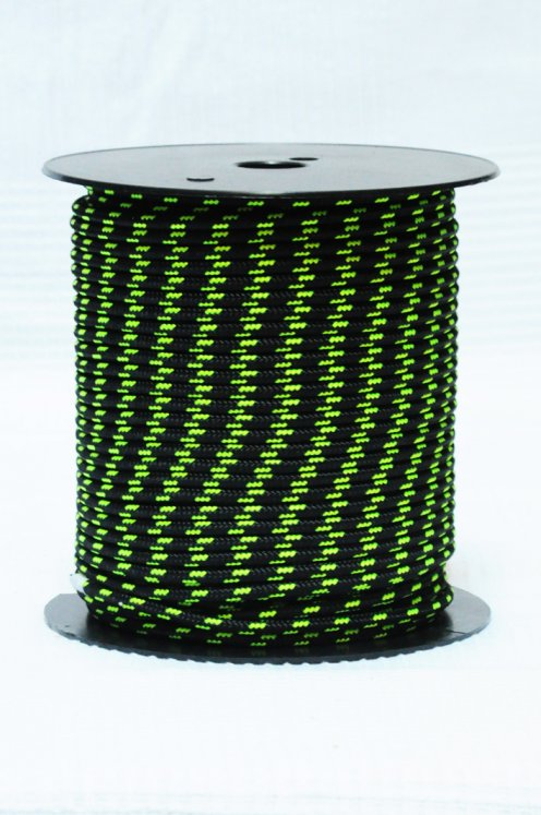 Ø5 mm black / fluo-yellow alpine rope for djembe drum - Djembe rope