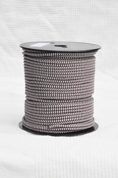 Ø5 mm djembe halyard (herringbones, bordeaux / gray, 100 m) - Rope for djembe drum